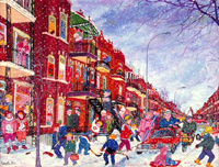 Rue Saint-Denis, Montreal - Greetings card
